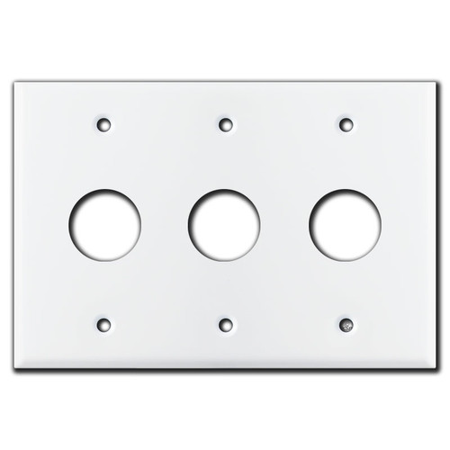 "3 Round Device Wall Switch Covers 1-1/8"" Openings - White"