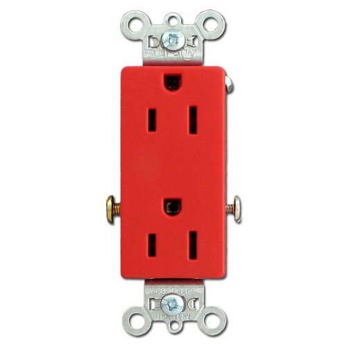 Red 15A Decorator Outlet - Specification Grade