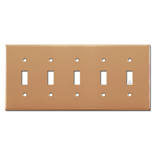 5 Toggle Electrical Wallplate Cover - Polished Copper