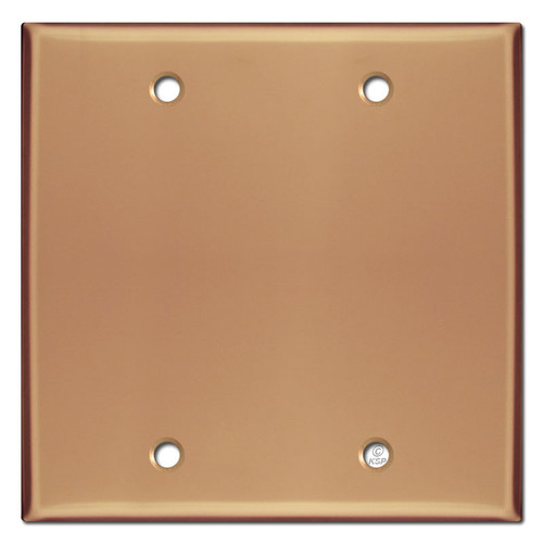 Double Blank Electrical Switch Wall Plate - Polished Copper