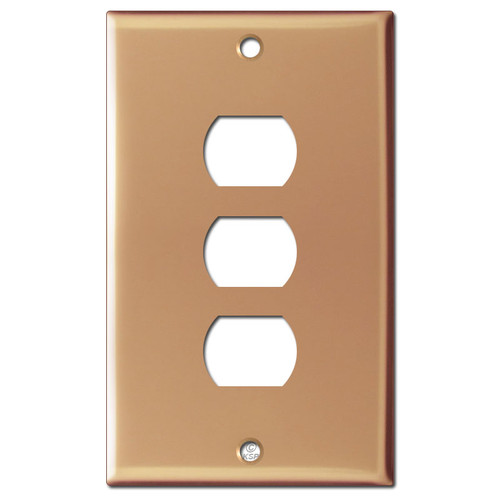 3 Despard Electrical Stack Switch Wall Plate - Polished Copper