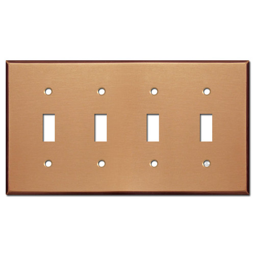 4 Switch Electrical Face Plate - Brushed Copper