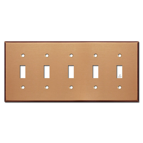 5 Toggle Electrical Trim Plate - Brushed Copper