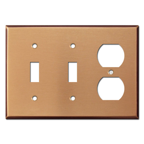2 Toggle Switch 1 Electrical Outlet Cover - Brushed Copper