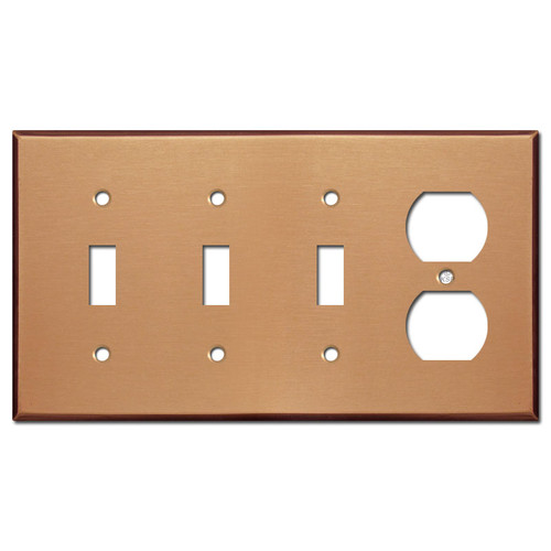 Duplex Outlet 3 Toggle Electrical Trim Plate - Brushed Copper