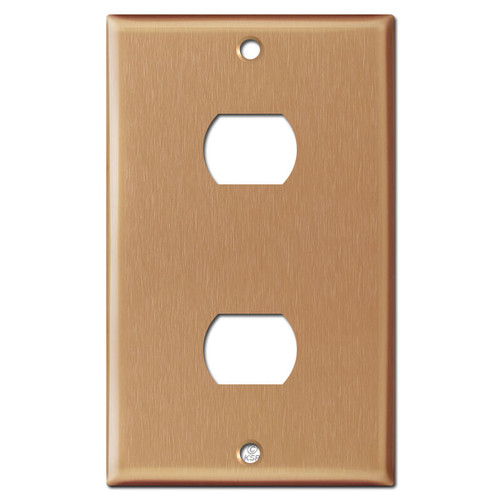 2 Stacked Switch Despard Wall Plate Cover - Brushed Copper