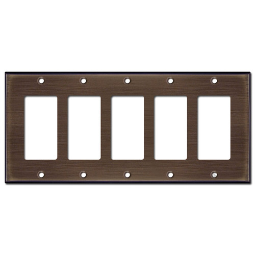 5 Rocker Switch Outlet Cover - Venetian Bronze