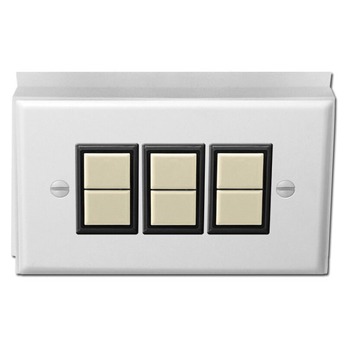 GE Low Voltage Surface Mounted 3 Switch Plate Unit - White with Ivory