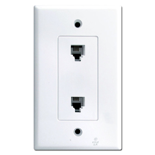 White Wall Plates with Two Phone Jacks
