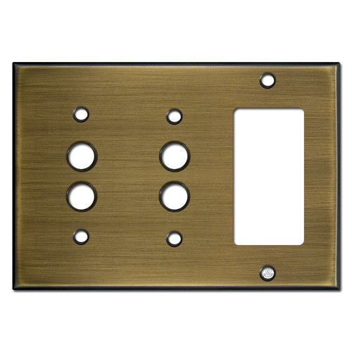1 Decor 2 Push Button Wall Switch Cover - Antiqued Brass