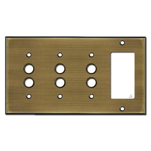 3 Push Button 1 GFCI Rocker Light Switch Cover - Antique