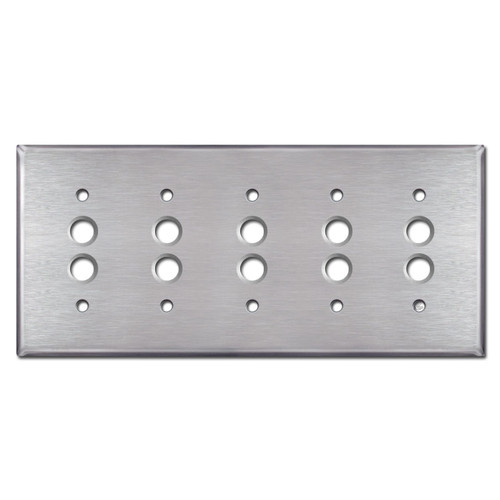 5 Pushbutton Electrical Wall Switchplate - Satin Stainless Steel