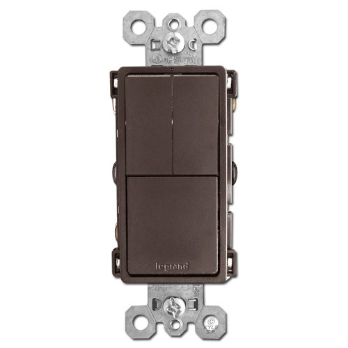 Brown 3 Stacked Switch - Dual S/P + Single Pole or 3-Way