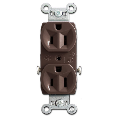 Brown 15 Amp Duplex Receptacle