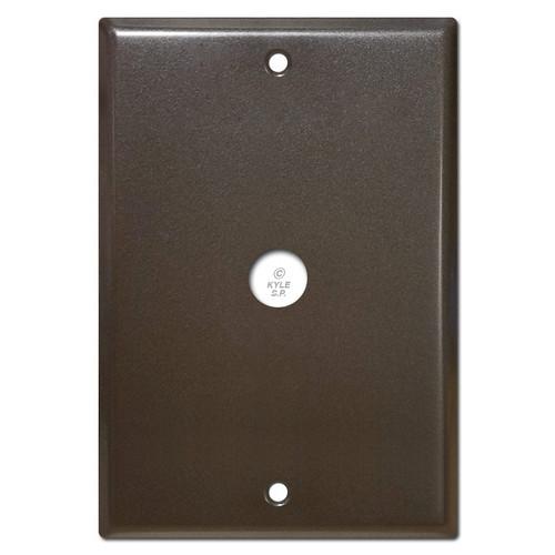 Large dark bronze doorbell covers.