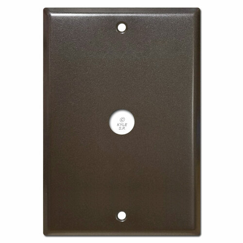 Large dark bronze doorbell covers.