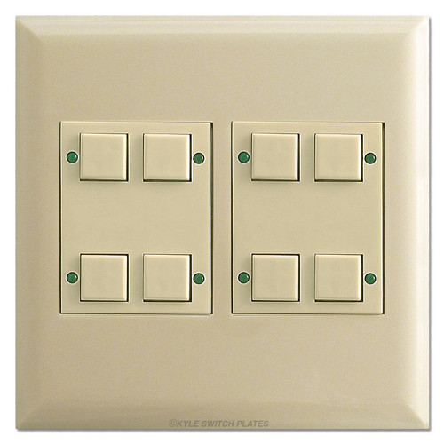 Touch Plate LED Light 8-Switch Control Station - Ivory