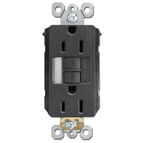 GFCI Outlet Night Light 15A Plugs TR ST - Black