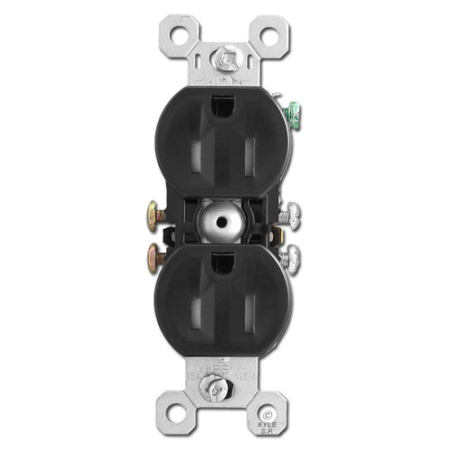 Black 15A Tamper Proof Duplex Outlet