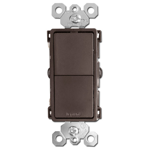 Stacked Double Rocker Switches - Brown