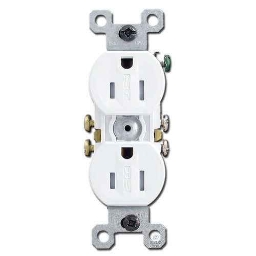 White Tamper Proof 15A Receptacle Outlet