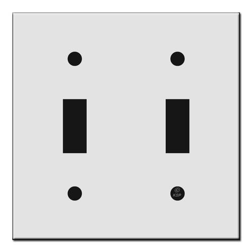 "Short Flat Narrow 2 Toggle Switch Wall Plates 4"" x 4"""