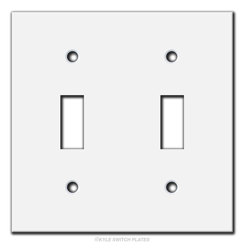 4x4 Short Flat Narrow 2 Toggle Light Switch Cover - White