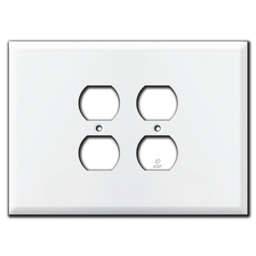 "Extra Wide 7.5"" Jumbo 2 Outlet Electrical Plate - White"