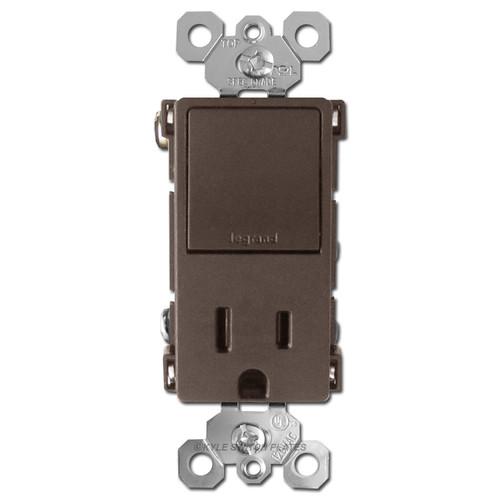 Dual 3-Way Rocker Switch + Receptacle 15A - Brown