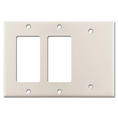 Blank + 2 GFI Decora Rocker Switchplate - Light Almond