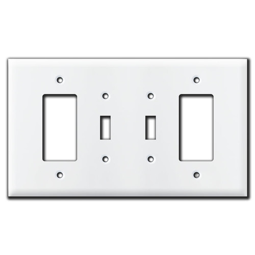 Mixed GFI and Toggle Light Switch Plate