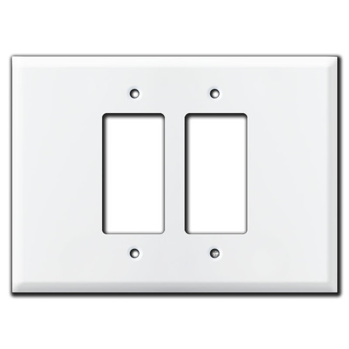 Extra Wide Jumbo 2 Decora Rocker Switch Plate - White