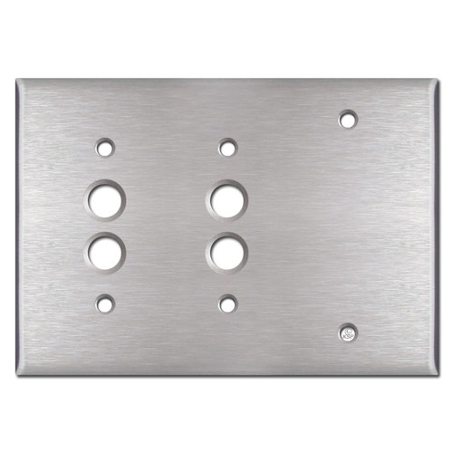 Blank 2 Pushbutton Light Switch Cover - Satin Stainless Steel