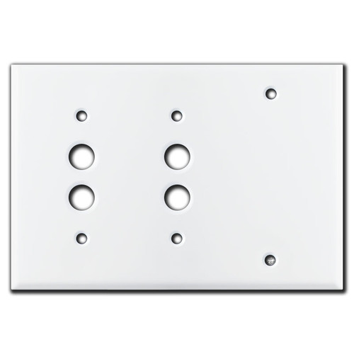 2 Push Button Blank Wall Switchplate - White