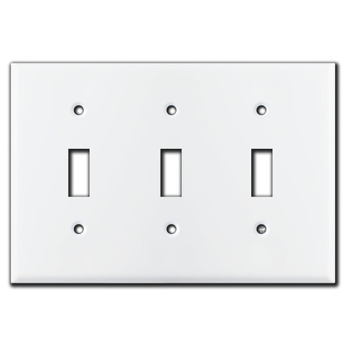 3 Toggle White Switch Plates