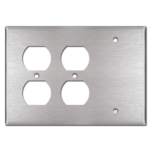 1 Blank 2 Duplex Outlet Cover Plate - Stainless Steel