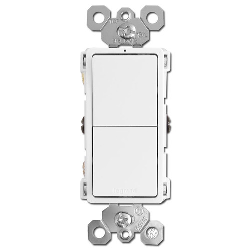 Double Stacked Rocker Light Switches - White