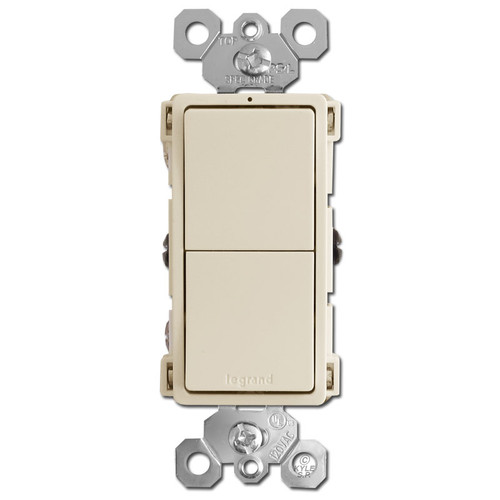 Stacked Dual Rocker Switch - Light Almond