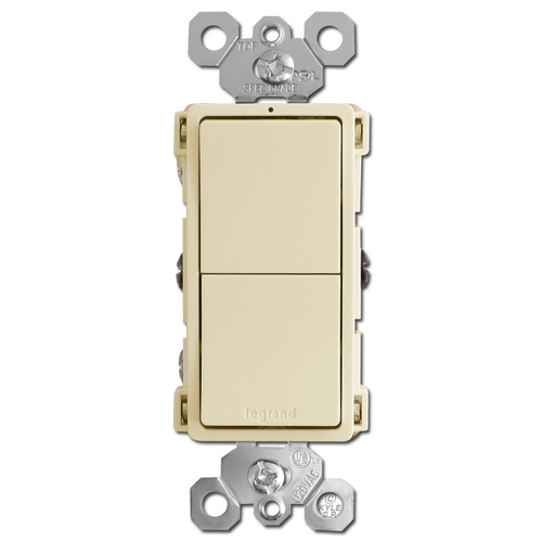 Stacked Double Rocker Switch - Ivory