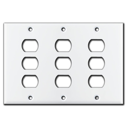 Triple Despard Toggle 9 Stacked Switch Wall Plate - White