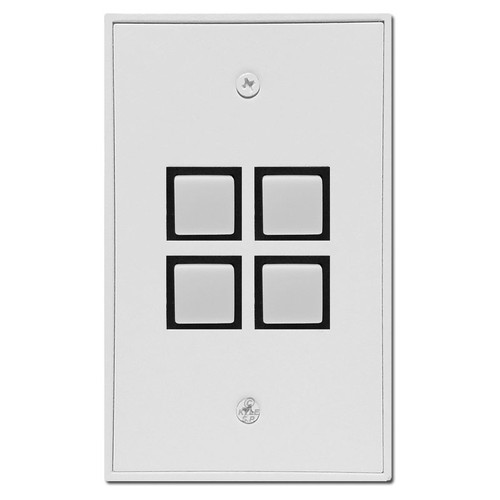 Touchplate Low Volt 4 Switch Industrial Wall Plate Unit - White