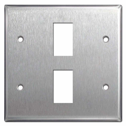 New Style 2-Gang GE Low Voltage 2 Switch Cover - Stainless Steel