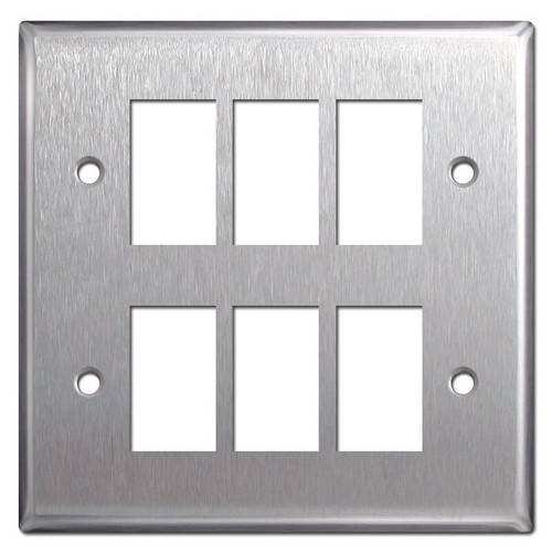 New Style GE 2-Gang 6 Switch Low Voltage Wallplate - Stainless Steel