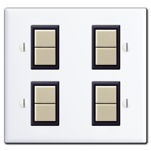 New Style GE 2 Gang Low Voltage 4 Switch Cover Set - White