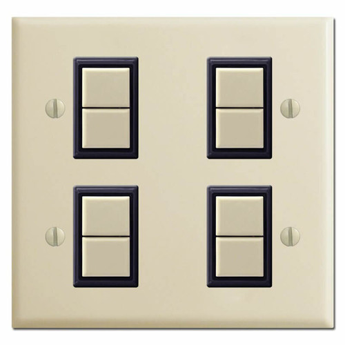 GE New Style 2 Gang 4 Switch Low Voltage Wall Plate Set - Ivory