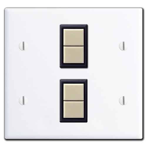 New Style 2-Gang GE Low Voltage 2 Switch Plate Set - White
