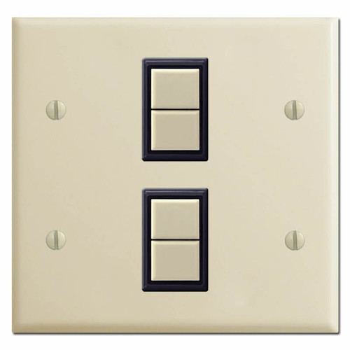 New Style Double GE Low Voltage 2 Switch Cover Plate Set - Ivory