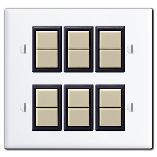 New Style 2-Gang GE Low Voltage 6 Switch Cover Set - White