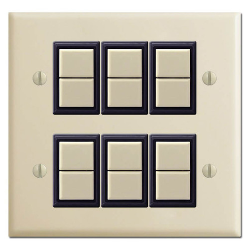 New Style GE Low Voltage 2-Gang 6 Switch Wall Plate Set - Ivory