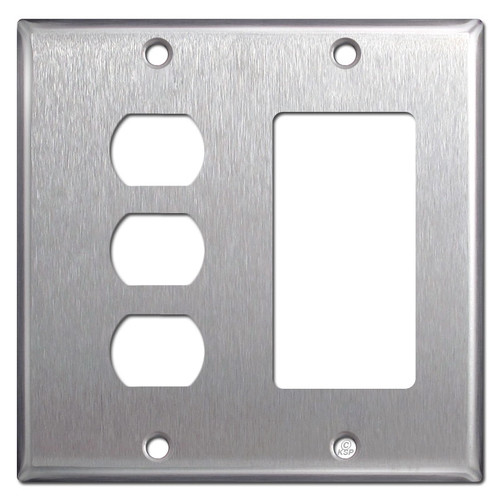 Stacked 3 Switch Despard + GFCI Outlet Cover - Stainless Steel